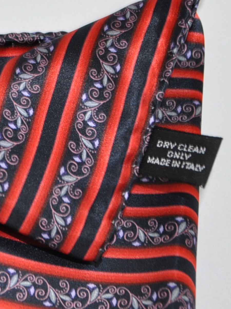 Vitaliano Pancaldi Pocket Square Black Red Pink Floral Stripes FINAL SALE