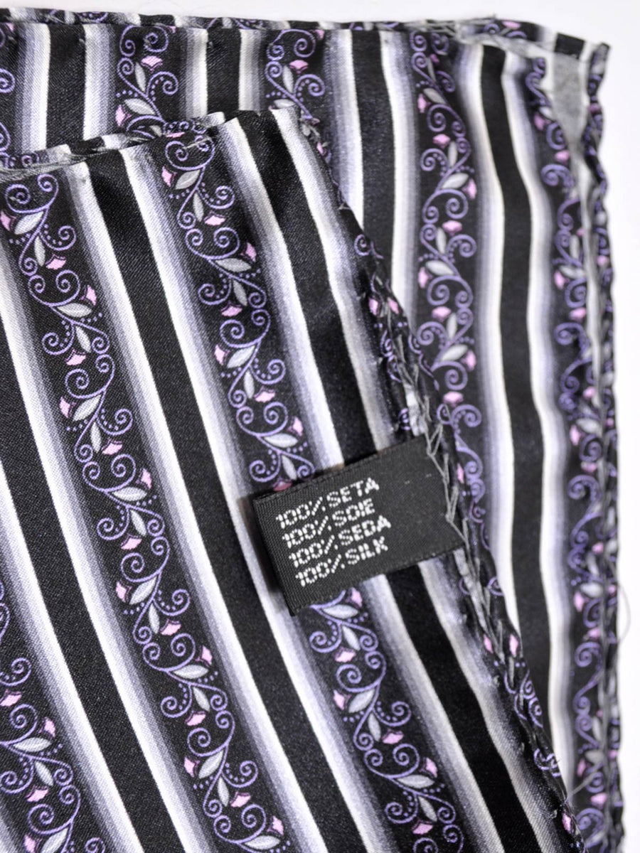 Vitaliano Pancaldi Pocket Square Black Gray Stripes