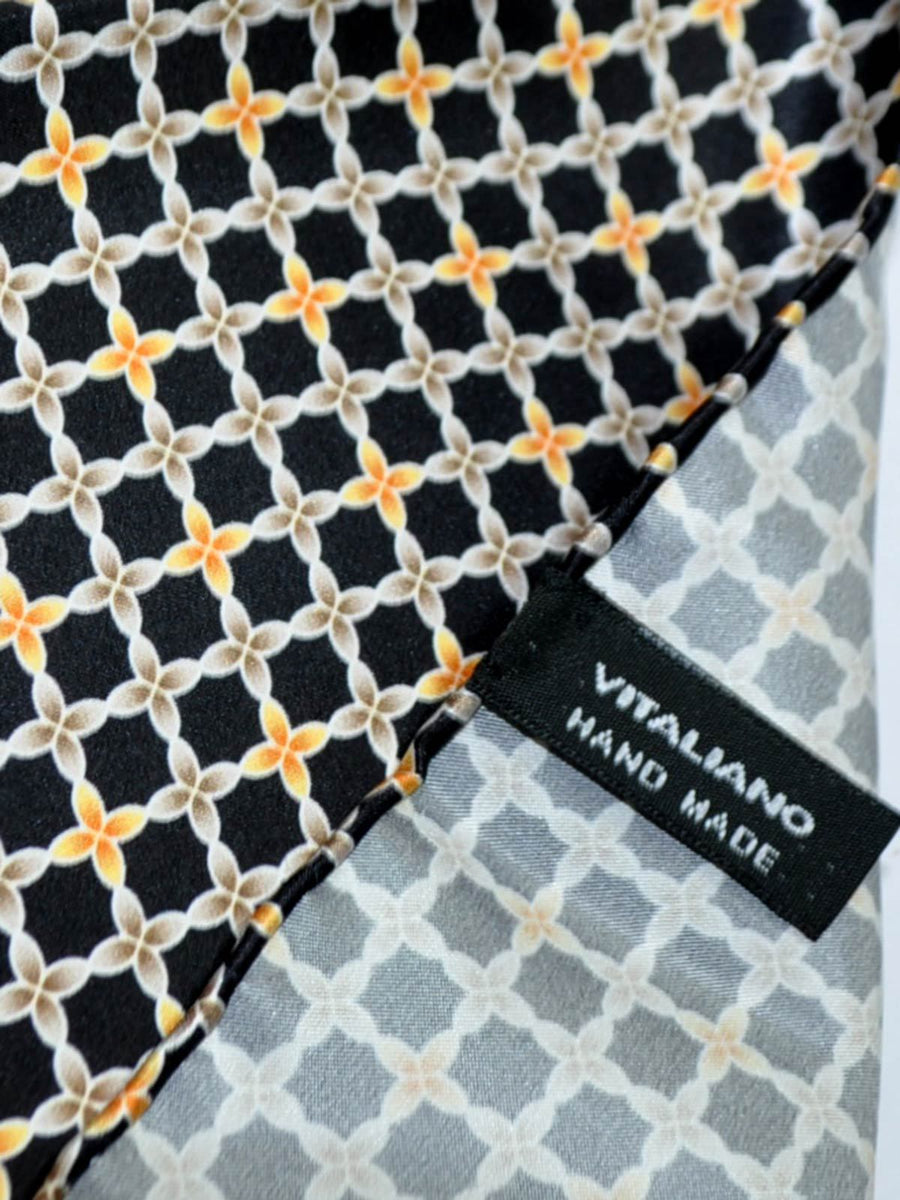 Vitaliano Pancaldi Pocket Square Black Taupe Orange SALE