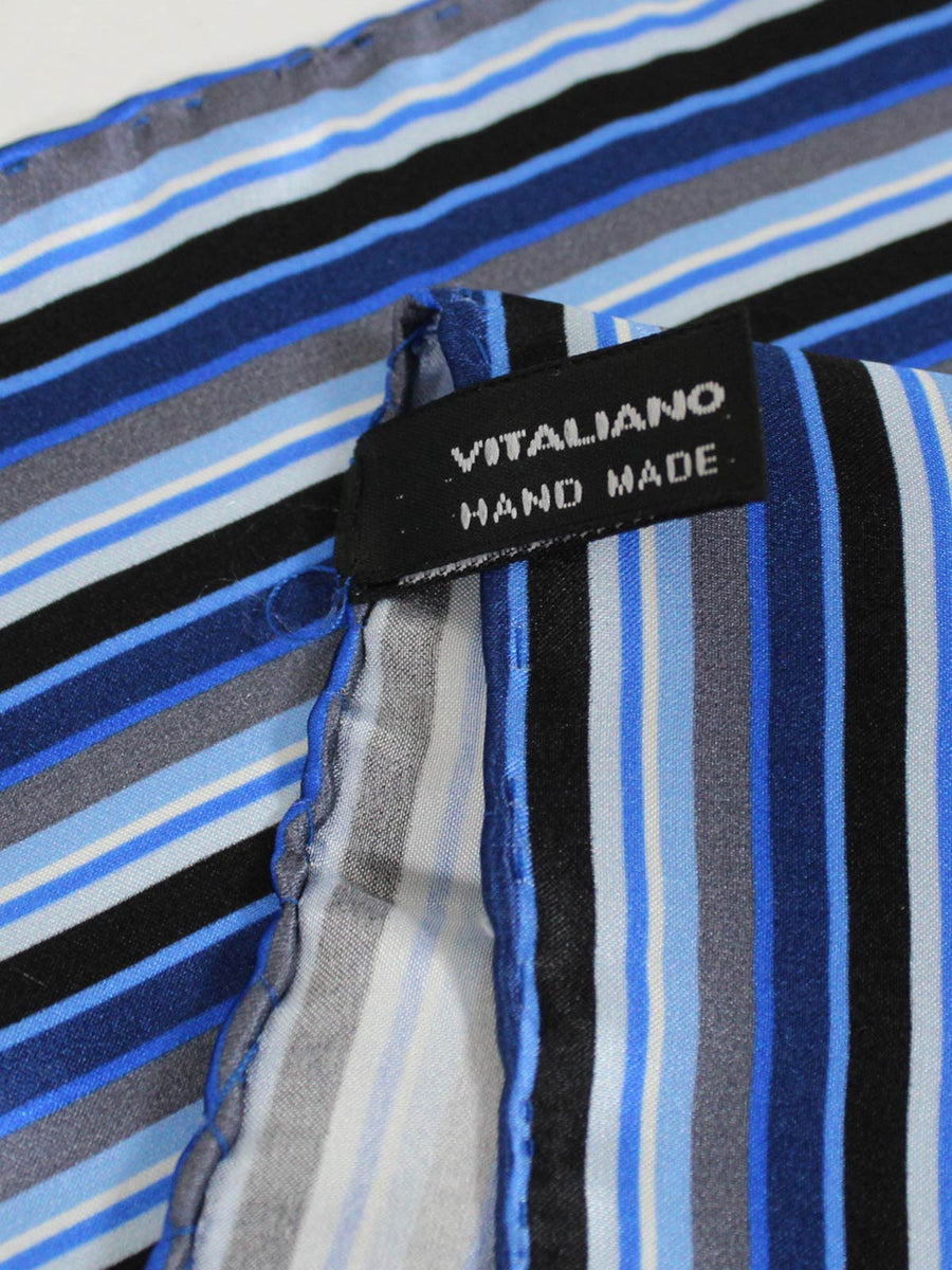 Vitaliano Pancaldi Pocket Square Royal Blue Gray Stripes