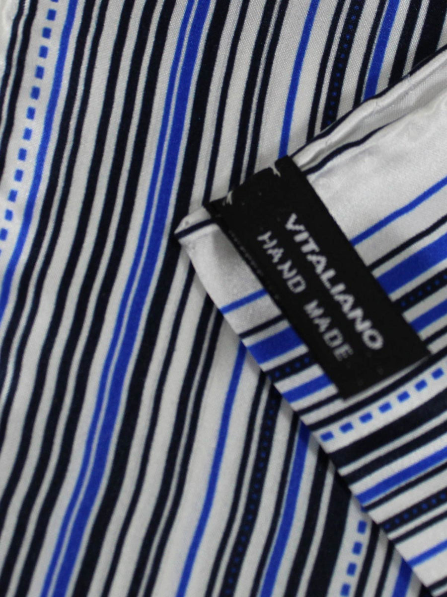 Vitaliano Pancaldi Pocket Square White Black Royal Blue Stripes
