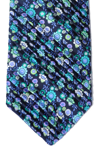 Vitaliano Pancaldi PLEATED SILK Tie Turquoise Flowers