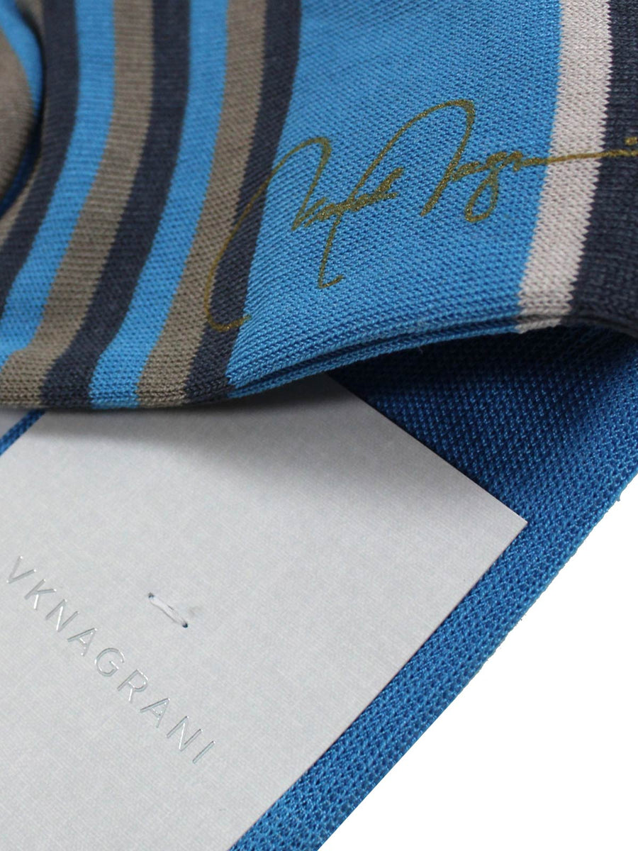 VK Nagrani Men Socks Gray Blue Stripes - Over The Calf