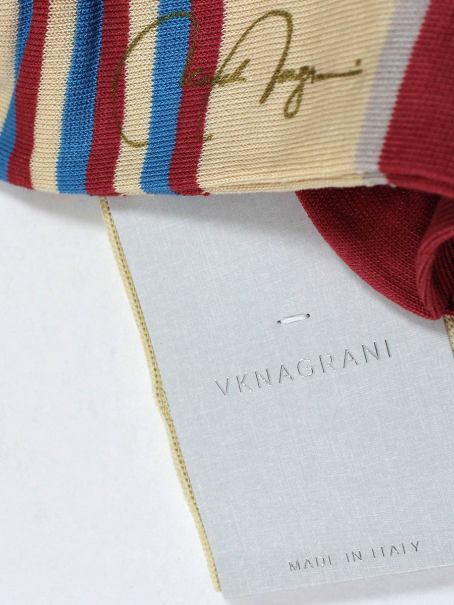VK Nagrani Men Socks Blue Dust Pink Stripes - Over The Calf