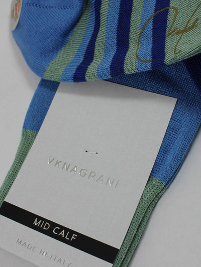 VK Nagrani Men Socks Blue Mint Royal Blue Stripes