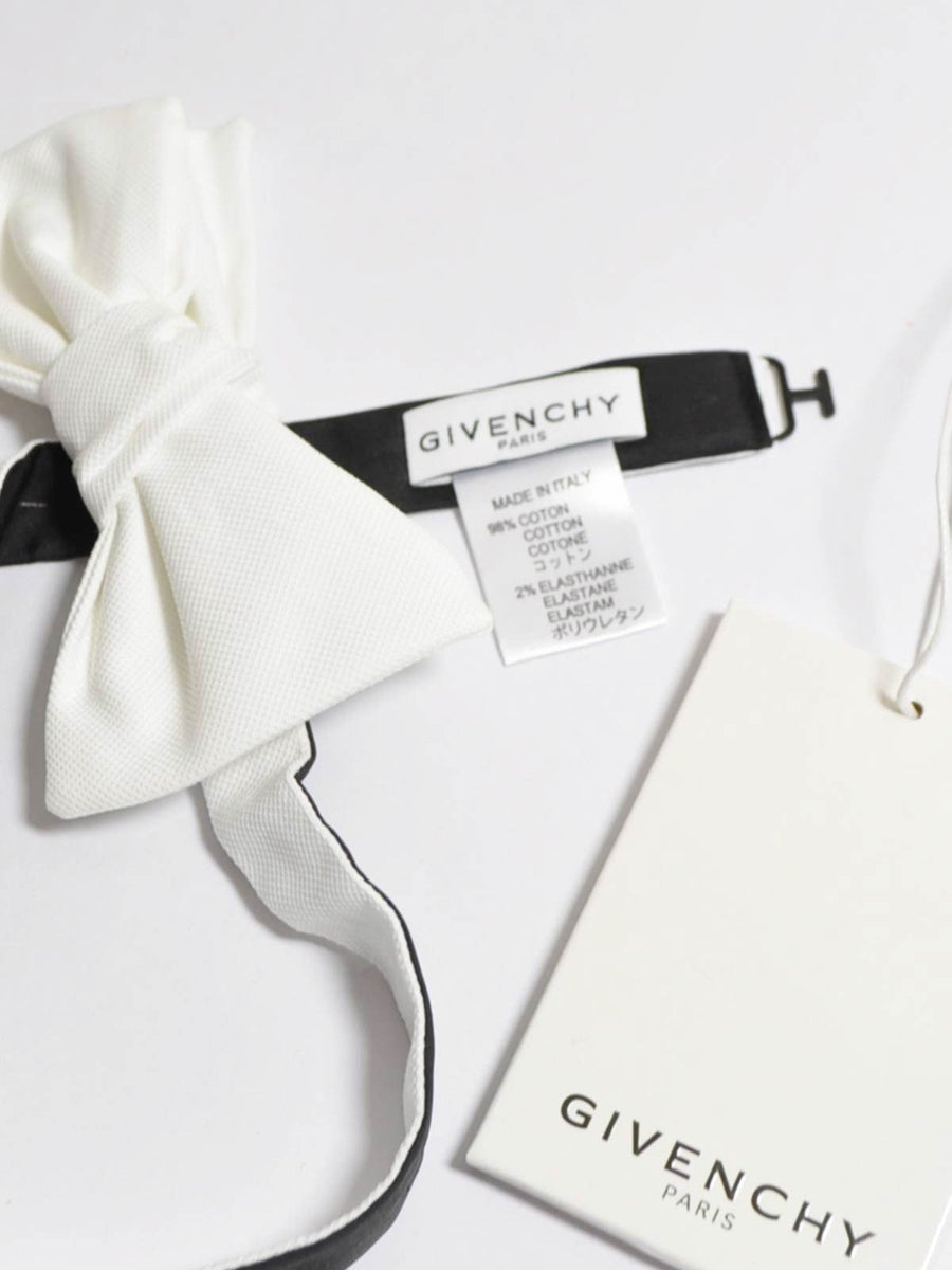 Givenchy Bow Tie White Cotton Pre-Tied Bow Tie FINAL SALE