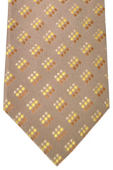 Zilli Tie Taupe Brown Yellow Geometric