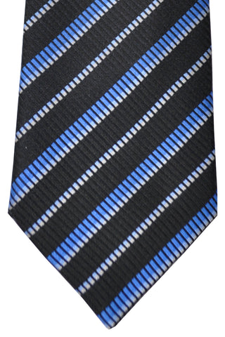 Zilli Tie Black Royal Blue Sky Blue Stripes - Wide Necktie