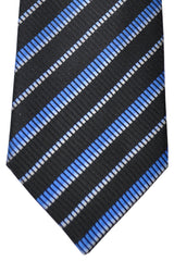 Zilli Tie Black Royal Blue Sky Blue Stripes