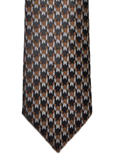 Z Zegna Tie Gray Taupe Black Geometric Narrow Necktie