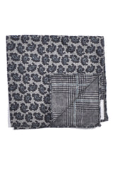 Ermenegildo Zegna Wool Pocket Square Gray Paisley