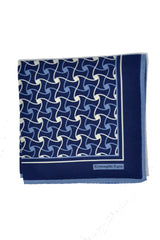 Ermenegildo Zegna Pocket Square Navy Blue White