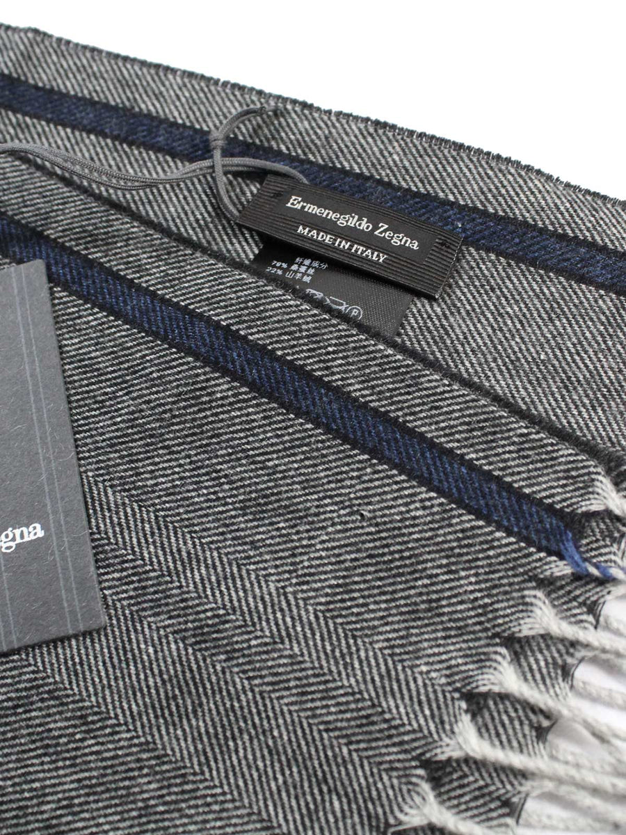 Ermenegildo Zegna Scarf Gray Midnight Blue