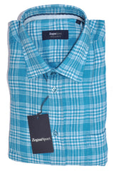 Zegna Shirt Aqua Plaid Linen Zegna Sport L FINAL SALE