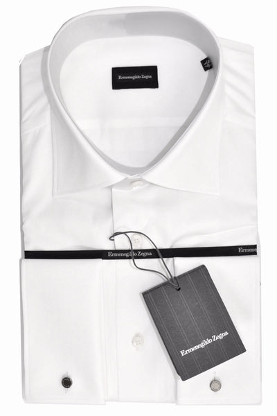 Ermenegildo Zegna Dress Shirt White French Cuffs - Regular Fit 45 - 18