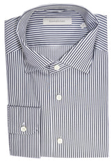 Ermenegildo Zegna Dress Shirt White Gray Stripes Regular Fit XL SALE