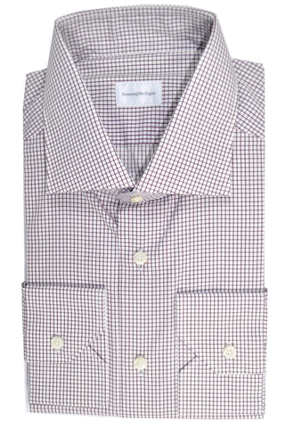 Ermenegildo Zegna Dress Shirt Slim Fit White Purple Grid 44 - 17 1/2 SALE