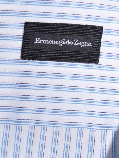 Ermenegildo Zegna Short Sleeve Shirt White Blue Navy Stripes 39 - 15 1/2 REDUCED - SALE