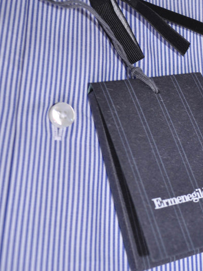 Ermenegildo Zegna Short Sleeve Shirt White Navy Stripes