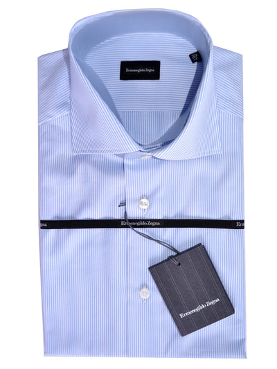 Ermenegildo Zegna Short Sleeve Shirt White Blue Stripes