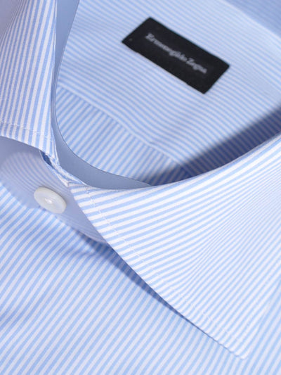 Ermenegildo Zegna Short Sleeve Shirt White Blue