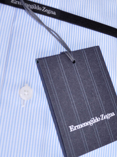 Zegna Short Sleeve Shirt White Blue