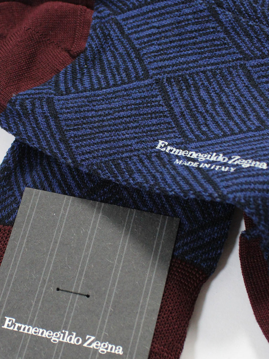 Ermenegildo Zegna Socks Lapis Blue Diamonds Twist Knee Height
