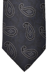 Ermenegildo Zegna Tie Gray Paisley - Premium Collection