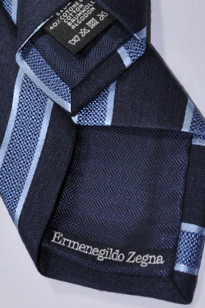 Ermenegildo Zegna Tie Navy Blue Stripes Cotton Silk Necktie