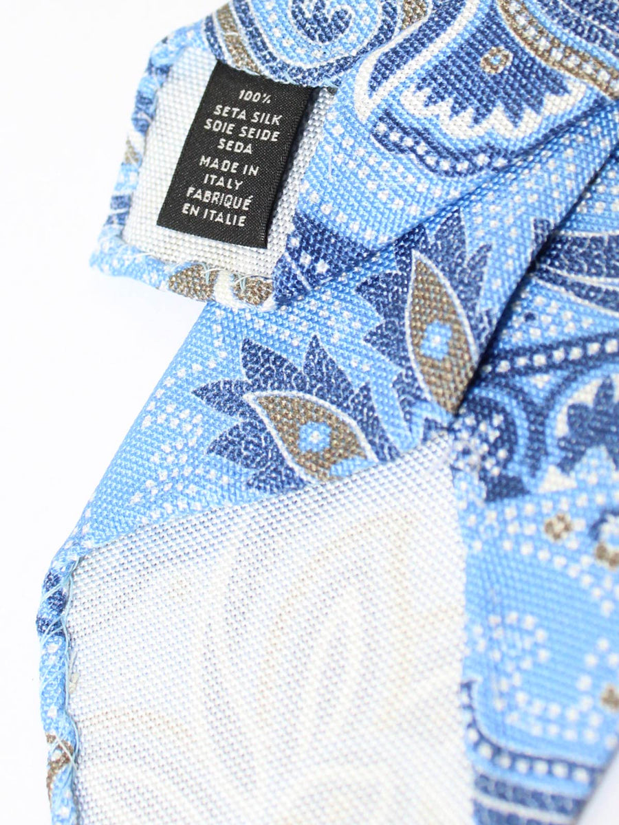 Ermenegildo Zegna Narrow Tie Blue Ornamental Design - Unlined Necktie