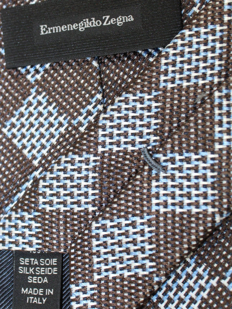 Ermenegildo Zegna Tie Dark Brown Blue Silver Geometric Design