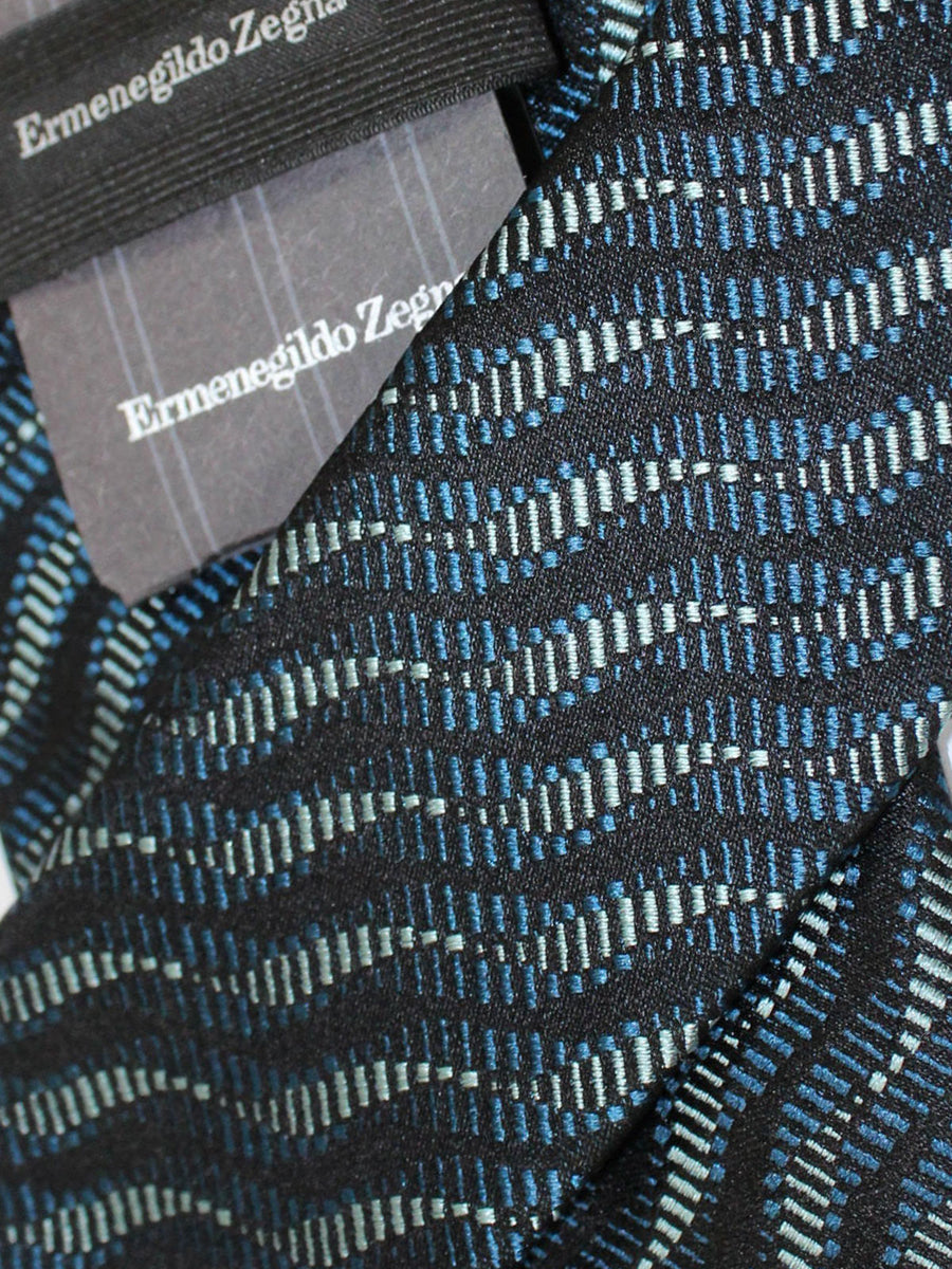 Ermenegildo Zegna Tie Black Gray Dark Green Geometric Design