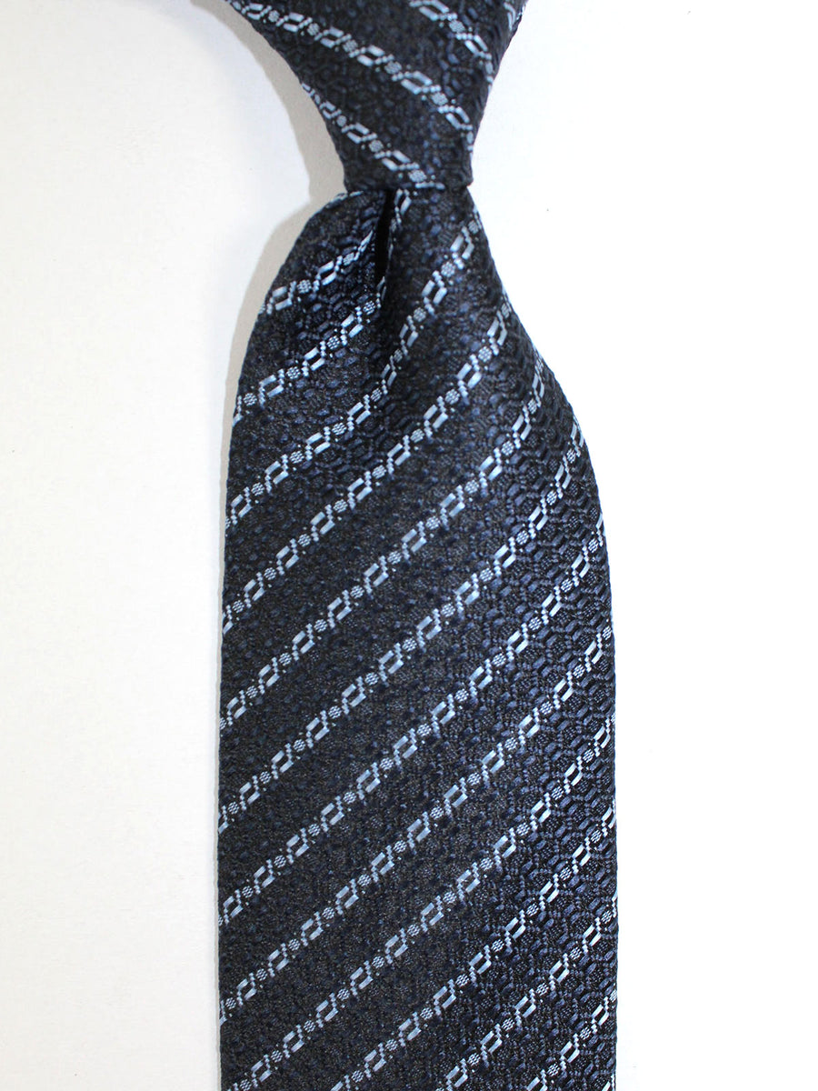 Ermenegildo Zegna Tie Black Gray Blue Stripes Design