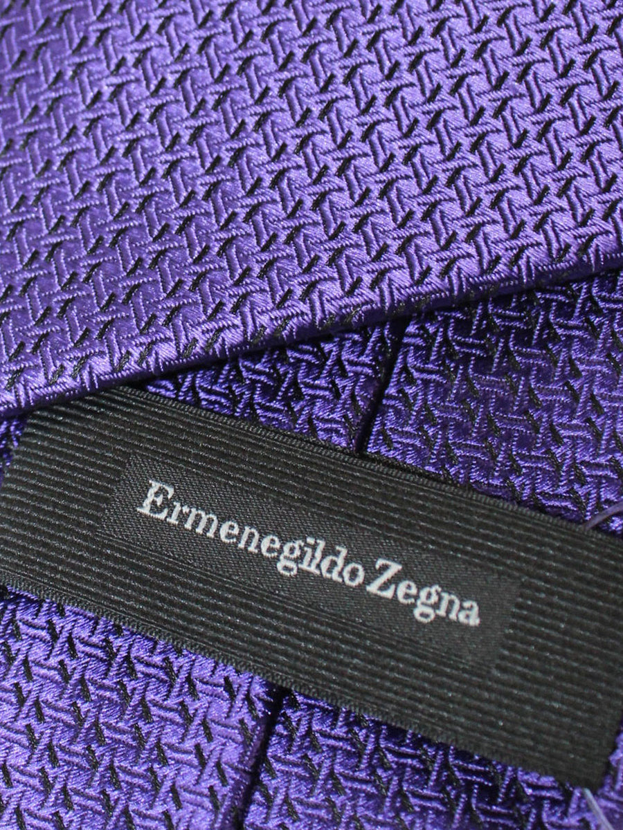 Ermenegildo Zegna Tie Purple Geometric Design