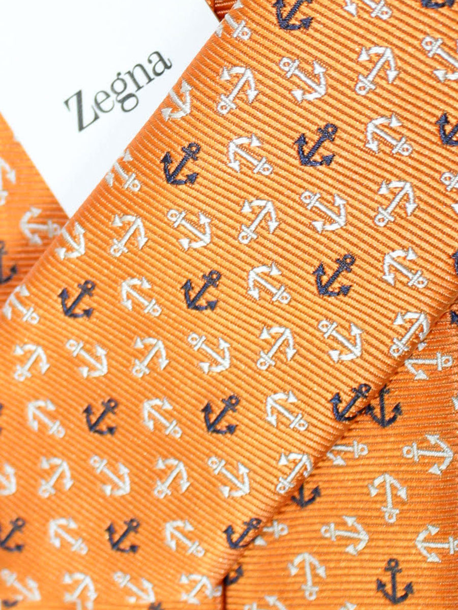 Ermenegildo Zegna Tie Orange Anchors Geometric Design