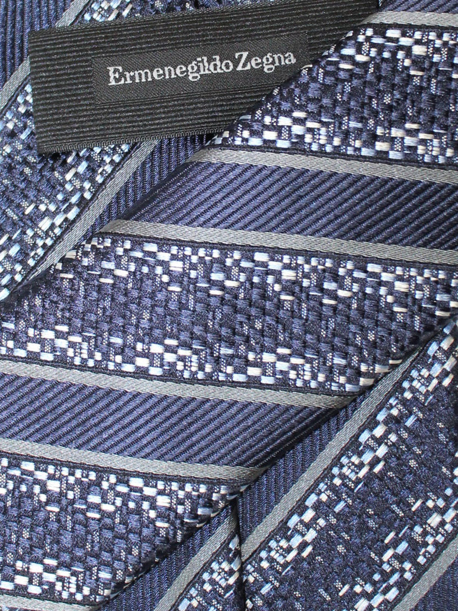 Ermenegildo Zegna Tie Dark Blue Stripes Design