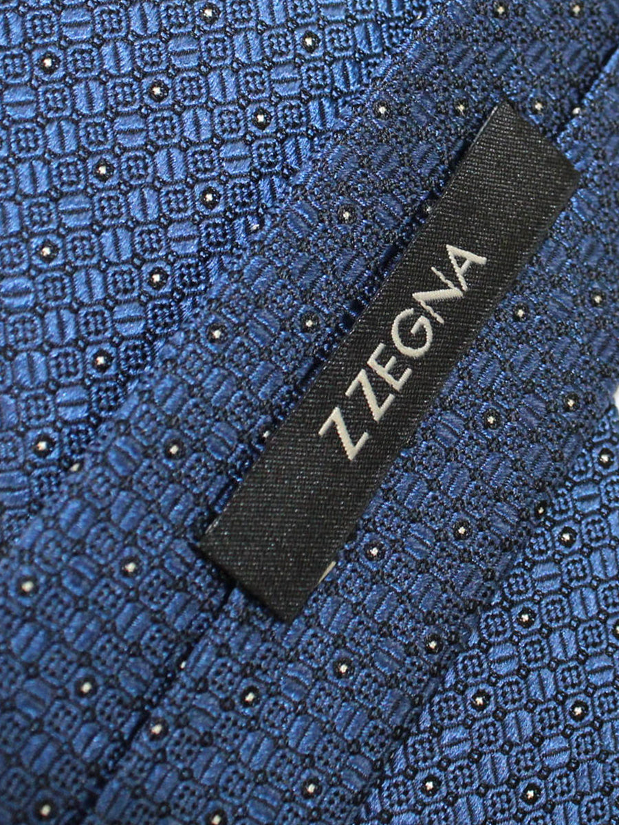 Z Zegna Tie Dark Blue Silver Geometric - Narrow Necktie
