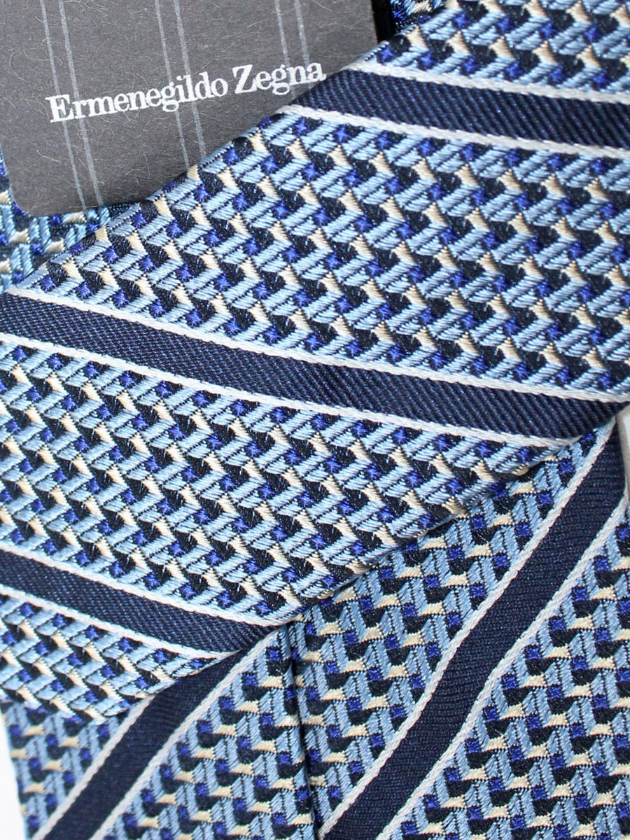Ermenegildo Zegna Tie Blue Navy Stripes Design