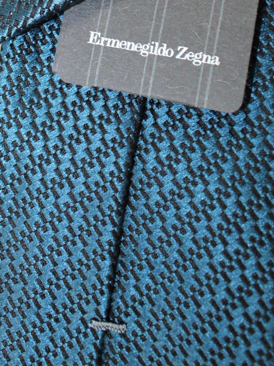 Ermenegildo Zegna Tie Dark Teal Black Geometric Design