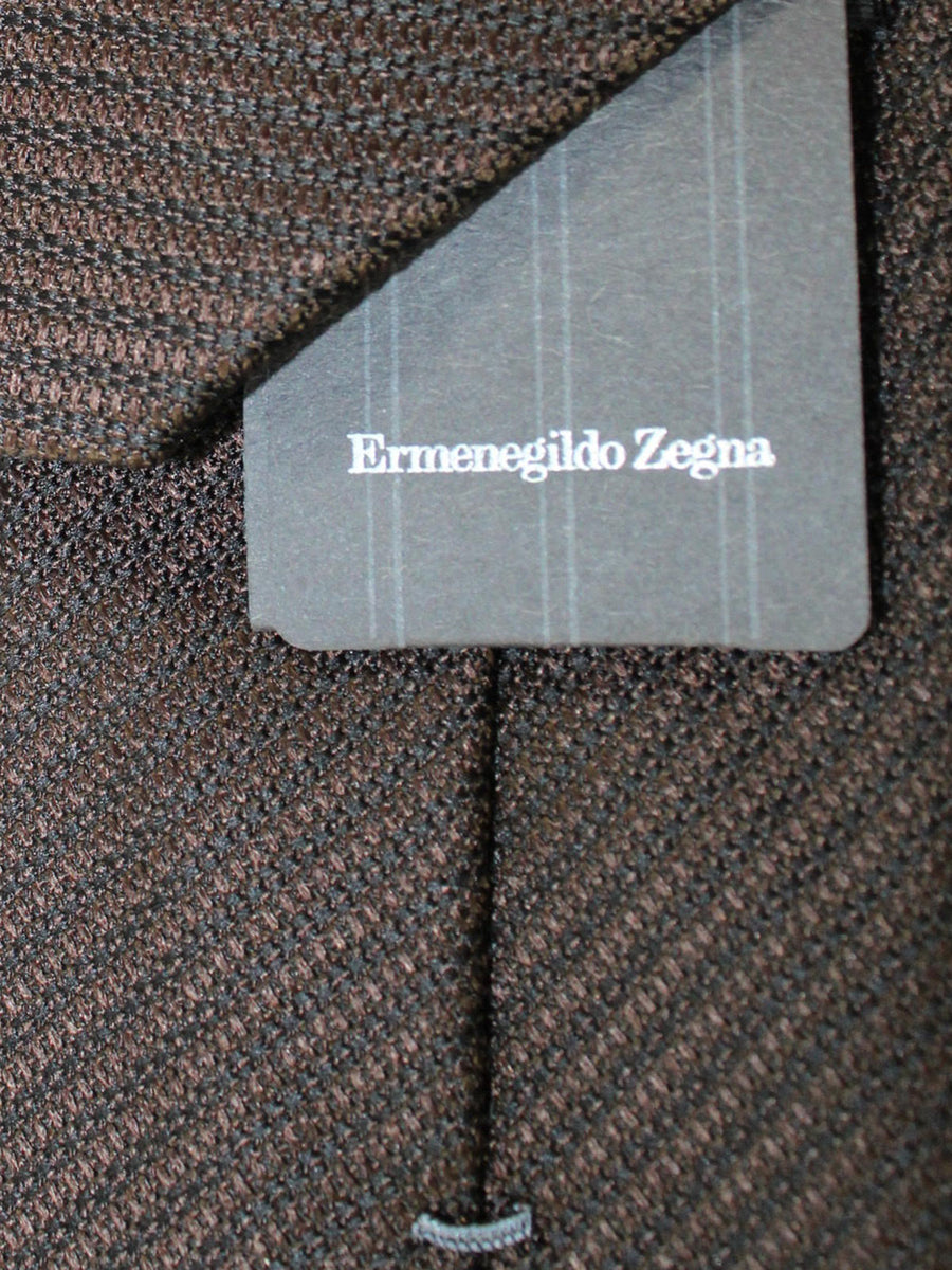 Ermenegildo Zegna Tie Brown Black Stripes Design