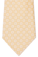 Ermenegildo Zegna Tie Yellow White Squares Cotton Silk