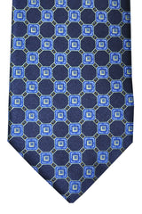 Ermenegildo Zegna Tie Dark Navy Royal Blue Silver Geometric