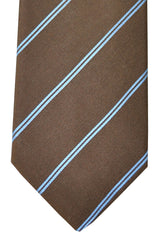 Ermenegildo Zegna Tie Brown Periwinkle Blue Stripes
