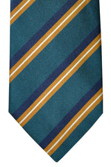 Ermenegildo Zegna Tie Green Navy Brown Stripes