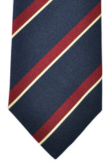 Ermenegildo Zegna Tie Dark Navy Cream Maroon Stripes