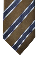 Ermenegildo Zegna Tie Brown Navy Silver Stripes