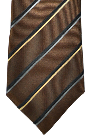 Zegna Tie Brown Gray Black Cream Gold Stripes FINAL SALE