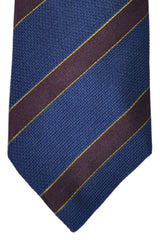 Ermenegildo Zegna Tie Navy Burgundy Gold Stripes