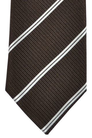 Ermenegildo Zegna Tie Brown Silver Stripes SALE