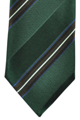 Ermenegildo Zegna Tie Green Brown Navy Stripes